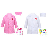 Kids Doctor Uniform Hospital Party Halloween Cosplay Fancy Dress Up Outfit 3-14Y