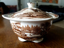 Royal Staffordshire Vintge Clarice Cliff Tonquin Brown & White Footed Sugar Bowl