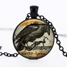 Raven Goth Black Glass Cabochon Necklace chain Pendant Wholesale