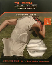 Shock Doctor 5 Pad Impact Shirt Youth Large Football Sparring Lacrosse White B2