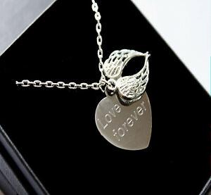 Angel Wings Necklace Engraved Memorial Pendant Personalised Jewellery Gifts