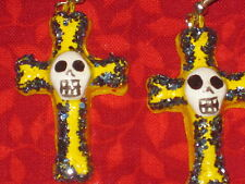 Cross with Skull Earrings Hand Crafted Day of Dead / Halloween Mexican Folk Art