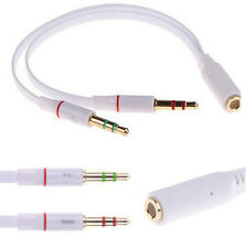 3.5mm White Audio Mic Y Splitter Cable Headphone Adapter Female To 2 Male Sale