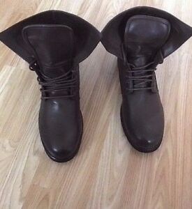 Men 2in1 Long Boots ankle Casual Smart Chukka Walk Bike Leather Lace Ride Size