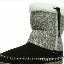 FoamTreads Alana Suede & Knit Bootie Slippers NWT Size 8 Black & Grey Fleece