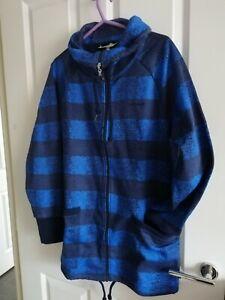 Womens Adidas blue&black full zipp jacket Track Top jumper fleece Size XS