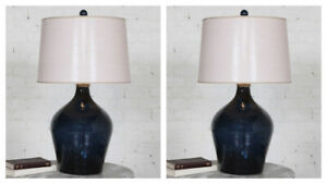 """PAIR LAMONE HAMMERED MIDNIGHT BLUE GLASS 31"""" TABLE LAMP UTTERMOST 27104"""