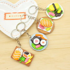 4PC Mixed Japanese Sushi Bread Pendant Keychain Keyrings Women Girl's Gifts
