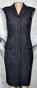 ELLEN TRACY Indigo Blue Sleeveless Shirt Dress 6 Buttonfront Unlined Versatile