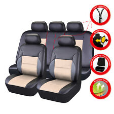 CARPASS PU Leather Auto car Seat Covers Full Synthetic Set  beige color