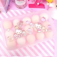 15 Grid Cute Hello Kitty Eggs Storage Box Plastic Container Kitchen Refrigerator