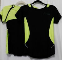 LOT of 2 BROOKS RUNNING Tops Womens M Tee Black Lime Reflective Athletic Shirts