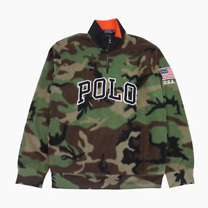 Polo Ralph Lauren Mens 1/4 Zip Camo Spellout Fleece Sweater XL Jumper BNWT Green