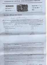 1861 Canterbury, New Hampshire Fire Insurance Co  Policy, Firefighting Illustrat