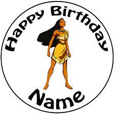 """Personalizzato Compleanno Pocahontas ROUND 8"""" facile PRETAGLIATO GLASSA cake topper"""