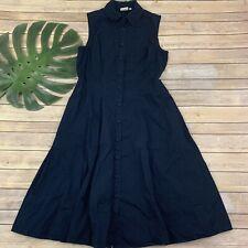 eShakti Sleeveless Shirt Dress Size M 10 Navy Blue Collared Buttons Pockets