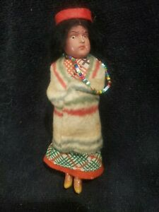 """Antique German Bisque Head Scowling Indian Doll 6"""""""