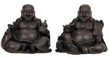 2 x große Buddha Figuren sitzend lachend Feng Shui Asia Buddhismus Glücksbringer