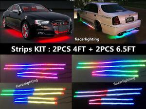fialights 2PCS 4FT+2PCS 6.5FT IP68 Singe Row Chasing LED Underglow Strips Light