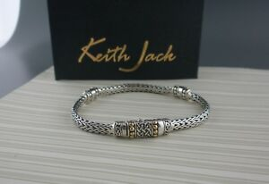 """Sterling Silver CELTIC Dragon Weave Bracelet with 18K accents Keith Jack 6.5"""""""