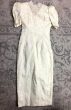SCOTT McCLINTOCK 8 Medium Ivory VINTAGE 80's Lace High Neck Dress Butt Ruffle b9