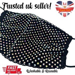 Adults Black Mermaid Diamante Netting Fabric Face Mask Washable Reusable
