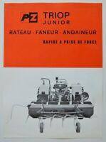 TRIOP Junior Rateau Faneur 1960s dealer sheet brochure - French - Canada