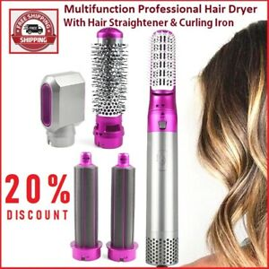 5 in 1 Multifunction Professional Hair Dryer Straightener Rotating Hairbrush Cur