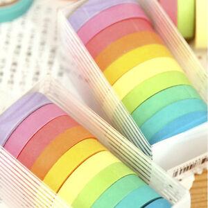 10 Rolls Paper Washi Masking Tape Rainbow Colours Sticky Decoration DIY w/