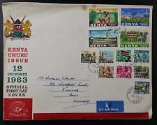 1963 FDC, Kenya Uhuru Issue, On Official Illus. Cover, Nakuru CDS, 12 Vals to 5/