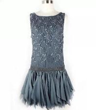 Free People Samantha Dress S Embellished Sequin Chiffon Ruffle Formal Small