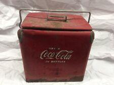 Old Rusty Dented Antique Vintage Coke Coca Cola In Bottles Cooler With Shelf