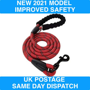 Dog Lead Rope, NEW MODEL LEASH, Soft Padded Handle, Reflective Threads 5FT 6FT
