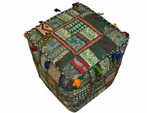"""Indian Cotton Ottoman Footstool Patchwork Handmade Poufs Cover 16X16X16"""" Inches"""