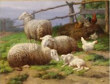 """EVENING REST"" VINTAGE SHEEP LAMB FARM CANVAS ART PRINT"