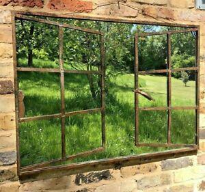 Garden Mirror Window Effect Wall or Fence Mounted Metal Outdoor Garden Feature