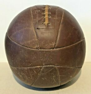 """Vintage Leather Medicine Ball 7 Pounds 10"""" Diameter Sports Equipment Work Out"""