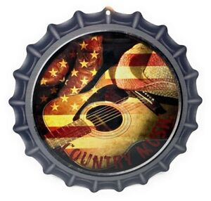 """COUNTRY MUSIC 12"""" Bottle Cap Shaped Aluminum Sign for Wall"""