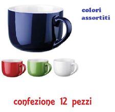 Set 12 Pezzi Tazza Tazzone Porcellana Colorate Latte Colazione 450ml dfh