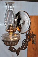 ANTIQUE WALL BRACKET OIL LAMP 'B&H' BACK PLATE HOLDER FONT REFLECTOR 1880 #2