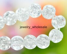 Wholesale 6mm 8mm Crystal Crack Glass Round Loose Spacer Beads 10 Color U Pick