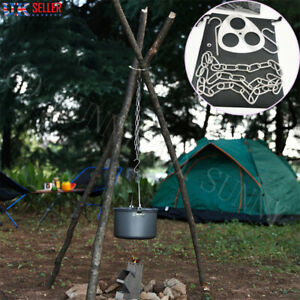 1PC Outdoor Camping Tripod Portable Cooking Campfire Pot Holder Picnic Cast UK