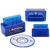 Mini ELM327 Bluetooth Car Diagnostic Scan Tool Interface V1.5 OBD-II OBD2 Blue