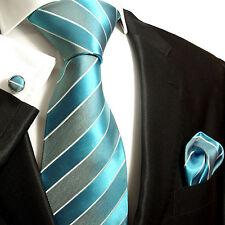 Krawatten Set 3tlg blau türkis SEIDE Paul Malone 690