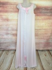 New listing True Vtg 60s Odette Barsa Nightgown Xl Pink Chantilly Ruffle Lace Satin Plus 1X