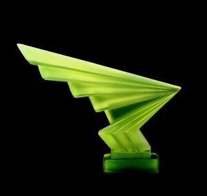 Art Deco Vaseline Glass ' Flash ' Hood Ornament Sculpture 1930' H.Hoffmann