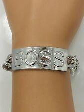 Metal BOSS Statement Plate Chain Bracelet - Silver Tone