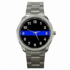 Thin Blue Police Line Law Enforcement Emblem Stainless Steel Sport Watch New!