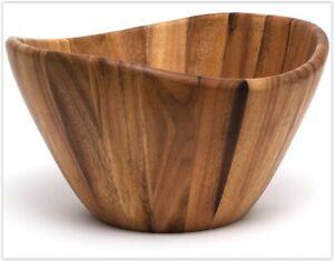"Lipper Int. Acacia Wave Salad Bowls Set of Two, 3""H, 6"" Diameter"