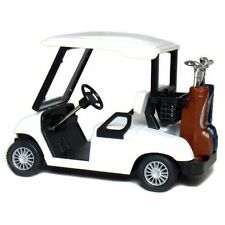 "New 4.5"" Kinsfun Golf Cart w/ Clubs Diecast Metal Model Caddy Toy Car Gift White"